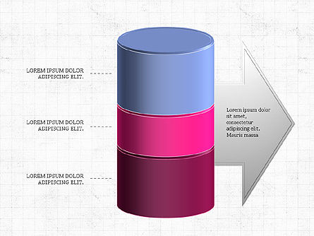 3D Stacked Cylinder Diagram, Slide 3, 04050, Business Models — PoweredTemplate.com