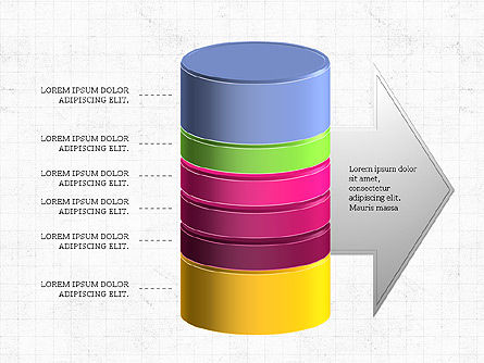 3D Stacked Cylinder Diagram, Slide 4, 04050, Business Models — PoweredTemplate.com