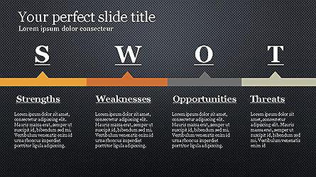 SWOT Diagram in Flat Design Slide 16