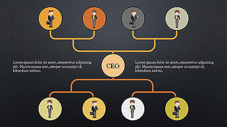 Org Chart with Characters, Slide 10, 04142, Organizational Charts — PoweredTemplate.com