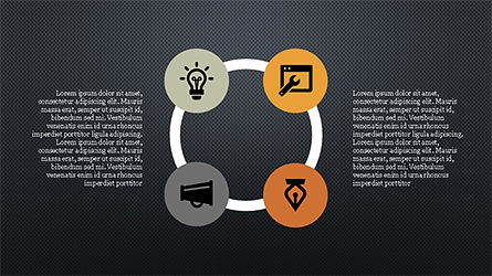 Flat Stages with Icons Diagram, Slide 13, 04202, Icons — PoweredTemplate.com