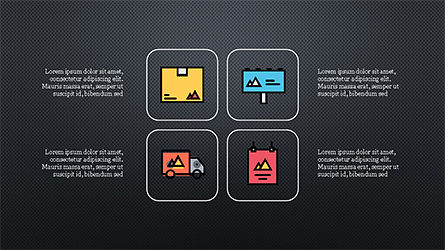 Process and Options with Flat Colored Icons, Slide 9, 04272, Icons — PoweredTemplate.com