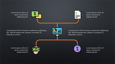 Organizational Chart with Financial Icons, Slide 13, 04274, Flow Charts — PoweredTemplate.com
