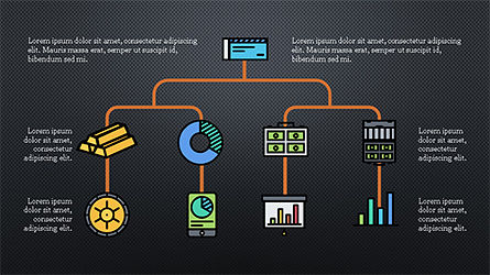 Organizational Chart with Financial Icons, Slide 14, 04274, Flow Charts — PoweredTemplate.com