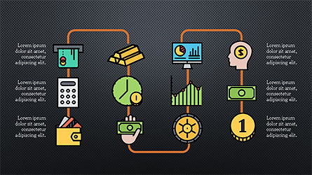 Organizational Chart with Financial Icons, Slide 15, 04274, Flow Charts — PoweredTemplate.com