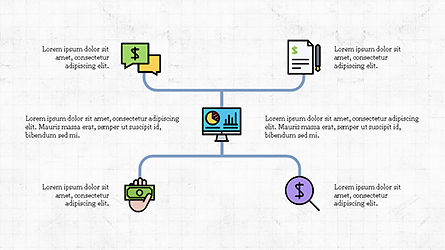 Organizational Chart with Financial Icons, Slide 5, 04274, Flow Charts — PoweredTemplate.com