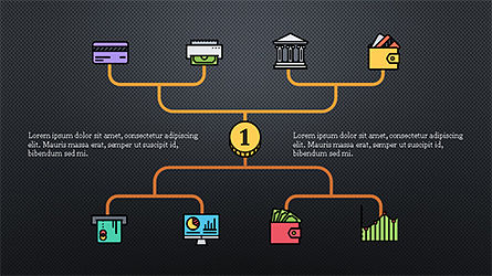 Organizational Chart with Financial Icons, Slide 9, 04274, Flow Charts — PoweredTemplate.com