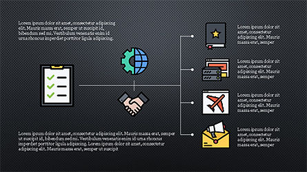Organizational Chart with Flat Icons, Slide 10, 04282, Icons — PoweredTemplate.com