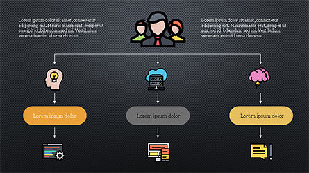Organizational Chart with Flat Icons, Slide 9, 04282, Icons — PoweredTemplate.com