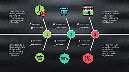 Fishbone Diagram with E-Commerce Icons, Slide 10, 04295, Business Models — PoweredTemplate.com