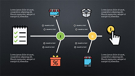 Fishbone Diagram with E-Commerce Icons, Slide 12, 04295, Business Models — PoweredTemplate.com
