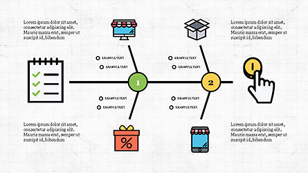 Fishbone Diagram with E-Commerce Icons, Slide 4, 04295, Business Models — PoweredTemplate.com