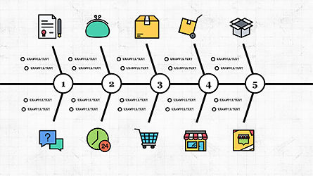 Fishbone Diagram with E-Commerce Icons, Slide 8, 04295, Business Models — PoweredTemplate.com