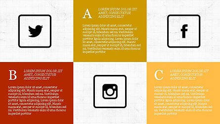 Grid Layout Social Media Presentation Template, 04296, Icons — PoweredTemplate.com