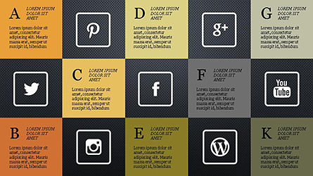 Grid Layout Social Media Presentation Template, Slide 10, 04296, Icons — PoweredTemplate.com