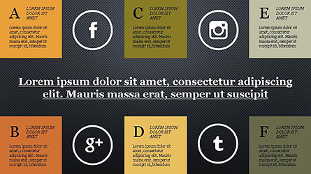 Grid Layout Social Media Presentation Template, Slide 12, 04296, Icons — PoweredTemplate.com