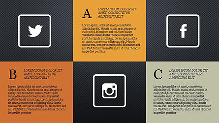 Grid Layout Social Media Presentation Template, Slide 9, 04296, Icons — PoweredTemplate.com