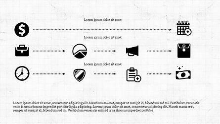 Monochrome Flat Icons and Process, Slide 6, 04311, Icons — PoweredTemplate.com