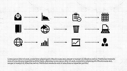Monochrome Flat Icons and Process, Slide 8, 04311, Icons — PoweredTemplate.com