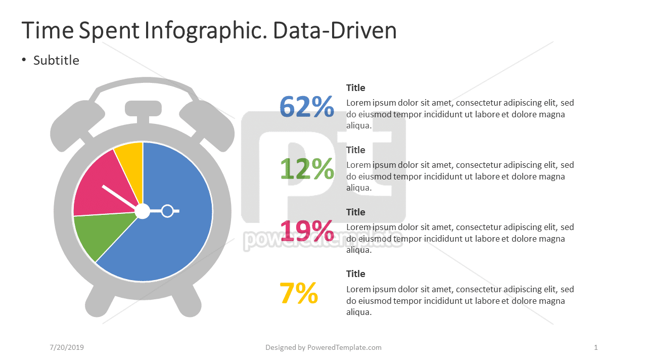 Time Spent Infographic - Data-Driven, 04397, Data Driven Diagrams and Charts — PoweredTemplate.com