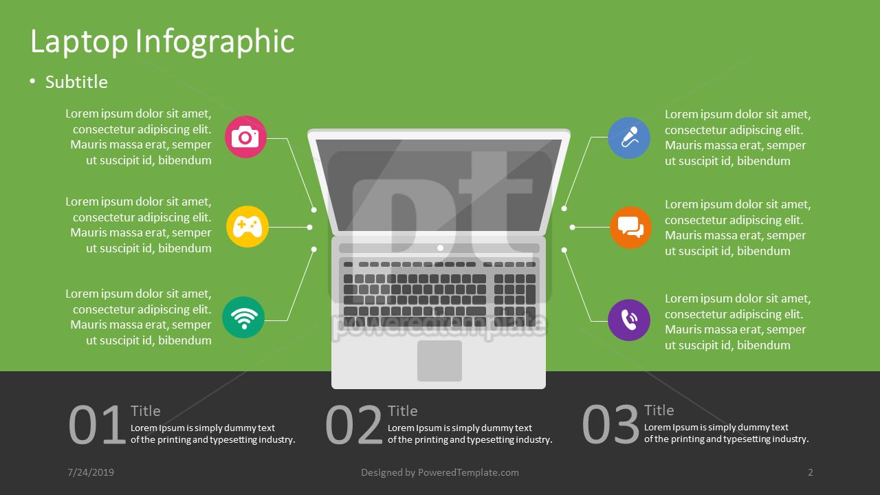 Infográfico de laptop, Deslizar 2, 04403, Infográficos — PoweredTemplate.com