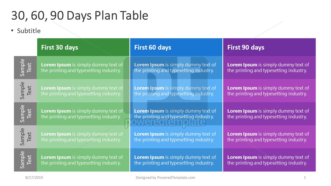 30-60-90 Days Plan, 04407, Business Models — PoweredTemplate.com