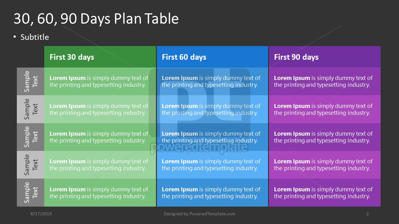 30-60-90 Days Plan, Slide 2, 04407, Business Models — PoweredTemplate.com