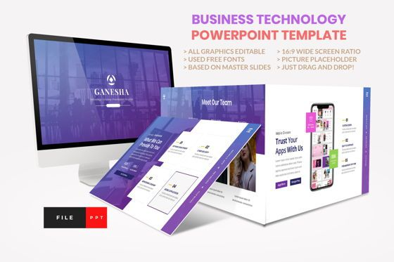 Business Models: Business - Technology PowerPoint Template #04419