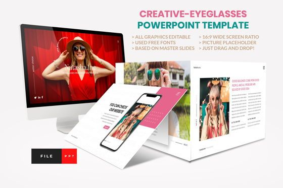 Business Models: Fashion - Eyeglasses PowerPoint Template #04422