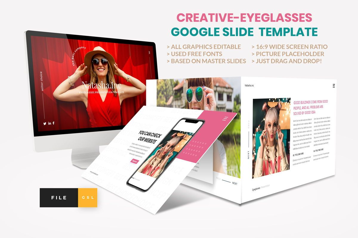 Fashion - Eyeglasses Google Slide Template, 04424, Business Models — PoweredTemplate.com