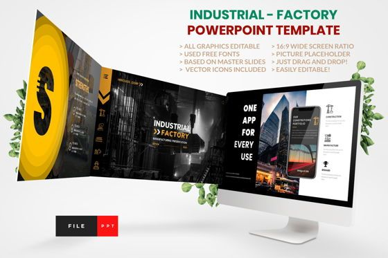 Business Models: Industrial - Factory PowerPoint Template #04425