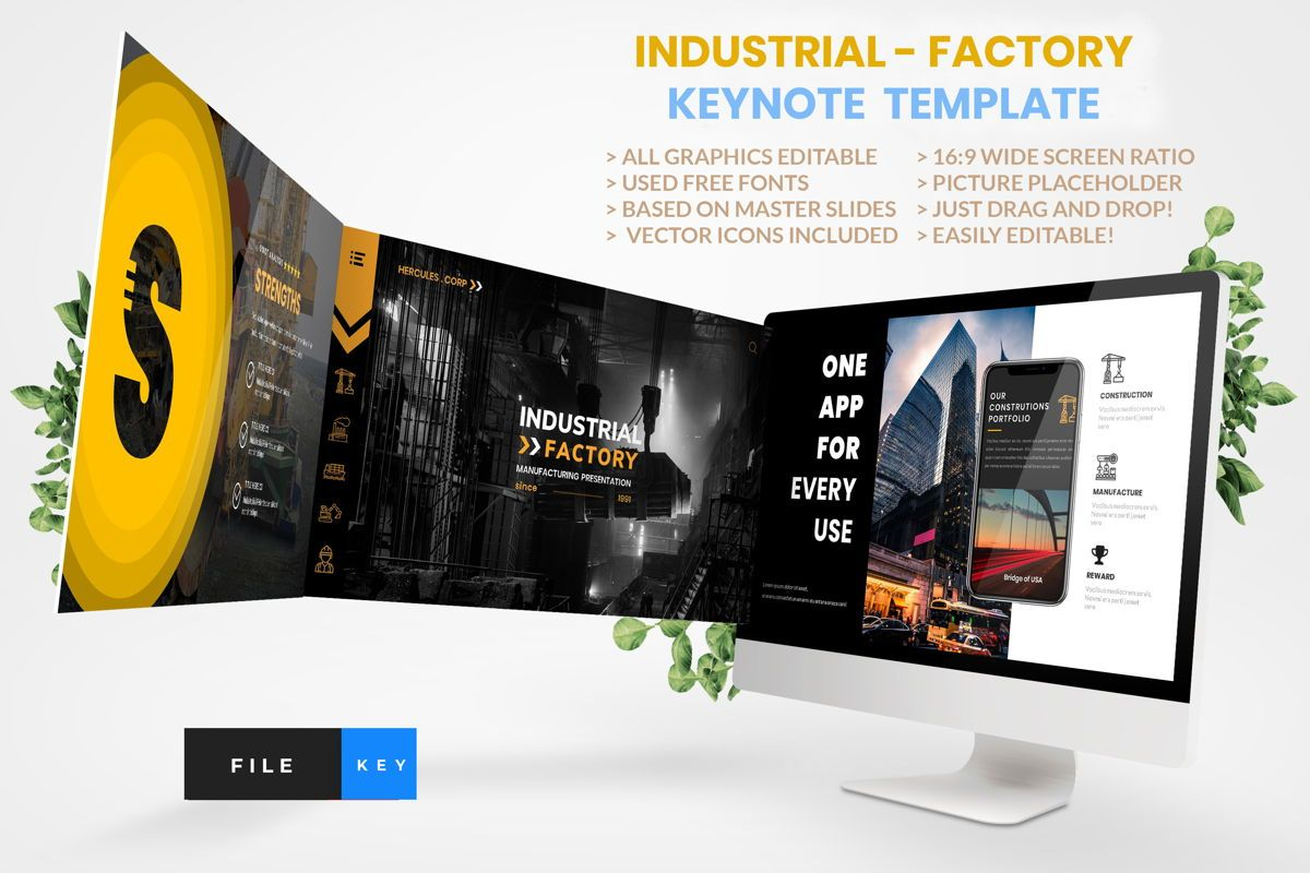 Industrial - Factory Keynote Template, 04426, Business Modelle — PoweredTemplate.com
