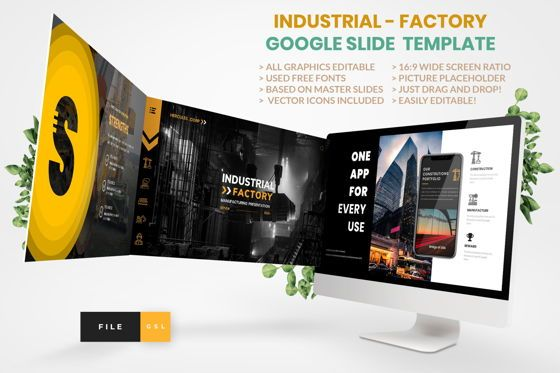 Business Models: Industrial - Factory Google Slide Template #04427
