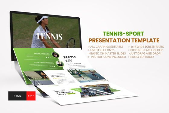 Business Models: Tennis - Sport PowerPoint Template #04431