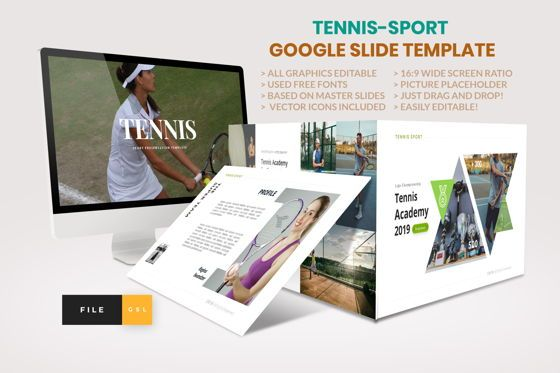 Business Models: Tennis - Sport Google Slide Template #04433