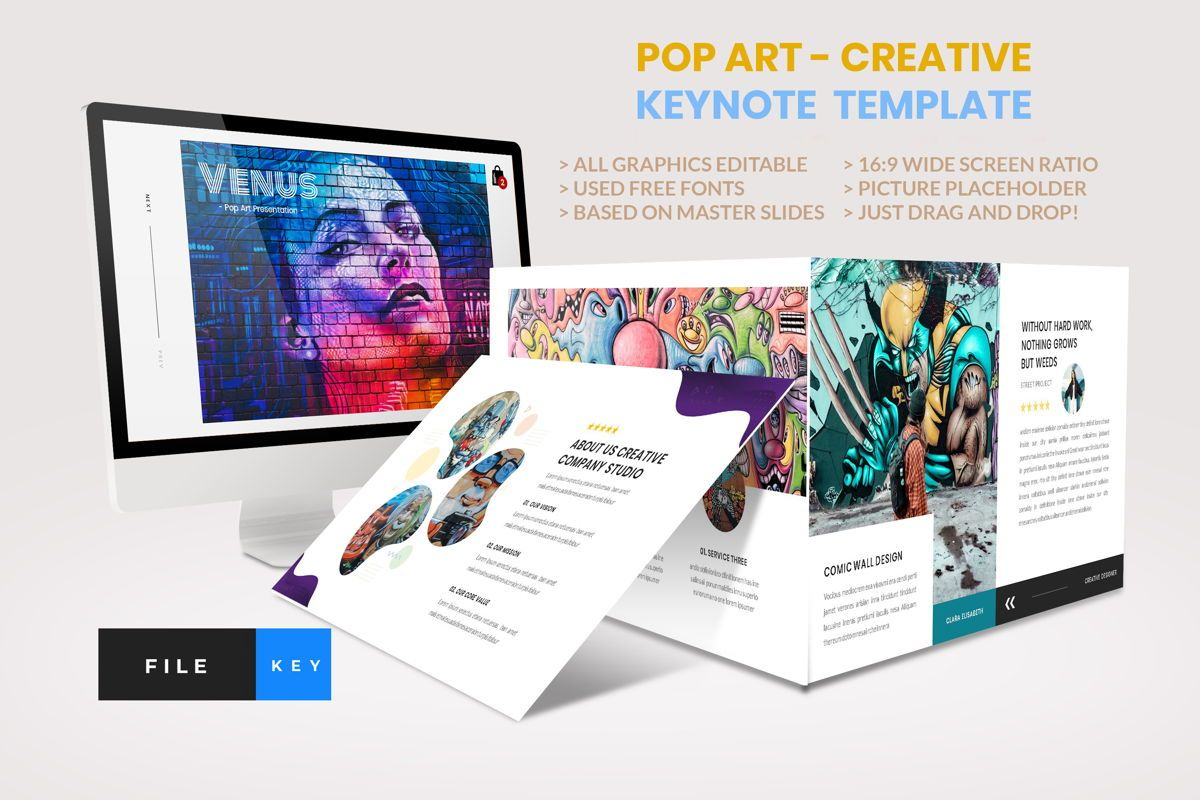 Pop Art - Creative Keynote Template, 04438, Business Models — PoweredTemplate.com