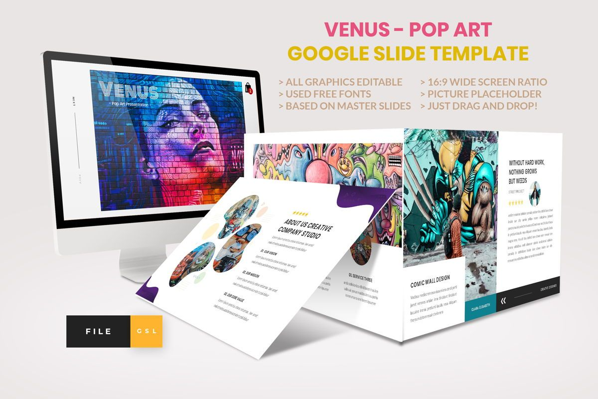 Pop Art - Creative Google Slide Template, 04439, Business Models — PoweredTemplate.com