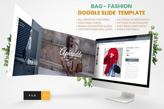 Business Models: Bag- Fashion Google Slide Template #04442