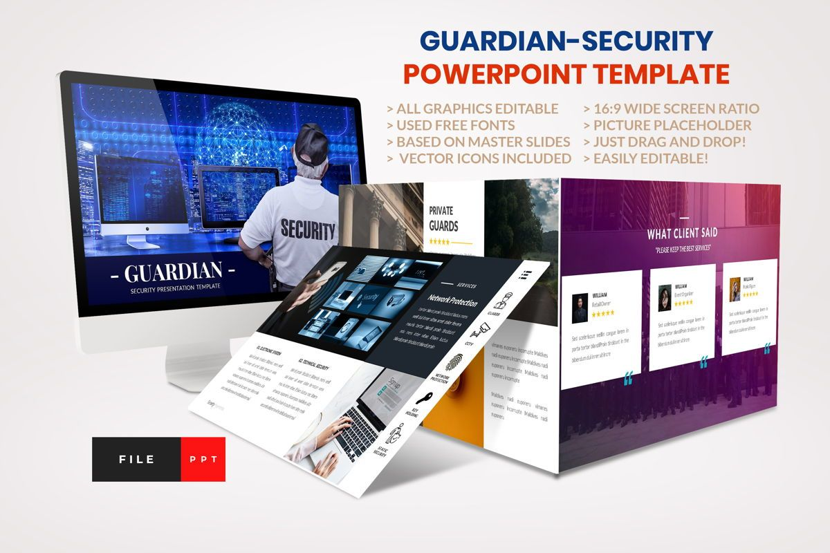 Guardian - Security PowerPoint Template, 04443, Business Models — PoweredTemplate.com