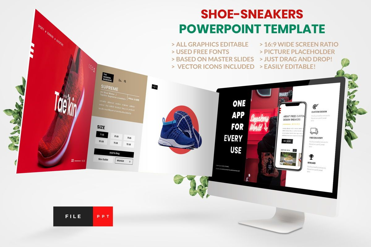 Shoe - Sneakers PowerPoint Template, 04446, ビジネスモデル — PoweredTemplate.com