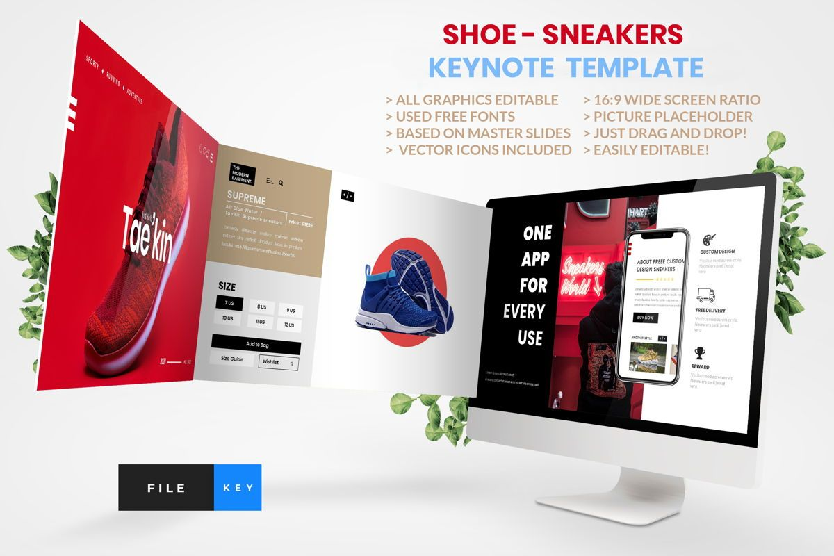 Shoe - Sneakers Keynote Template, 04447, Business Modelle — PoweredTemplate.com