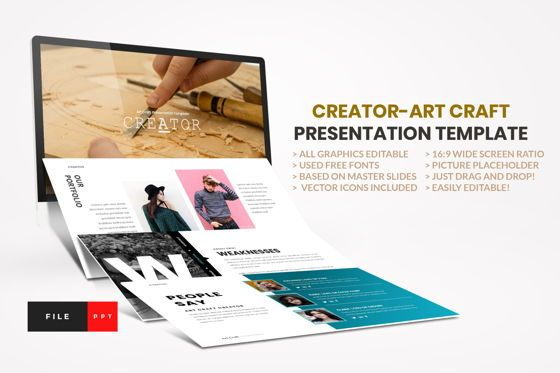 Business Models: Creator - Art Craft PowerPoint Template #04449