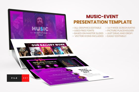 Business Models: Music - Event PowerPoint Template #04455