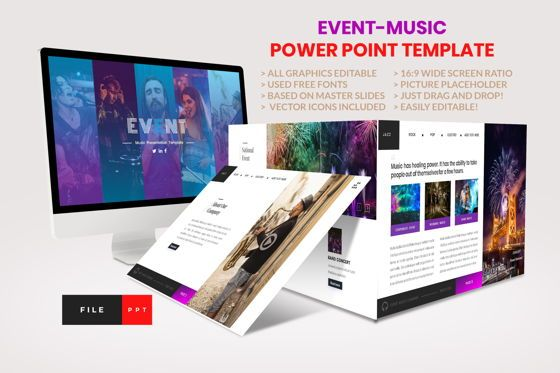 Business Models: Event - Music PowerPoint Template #04458