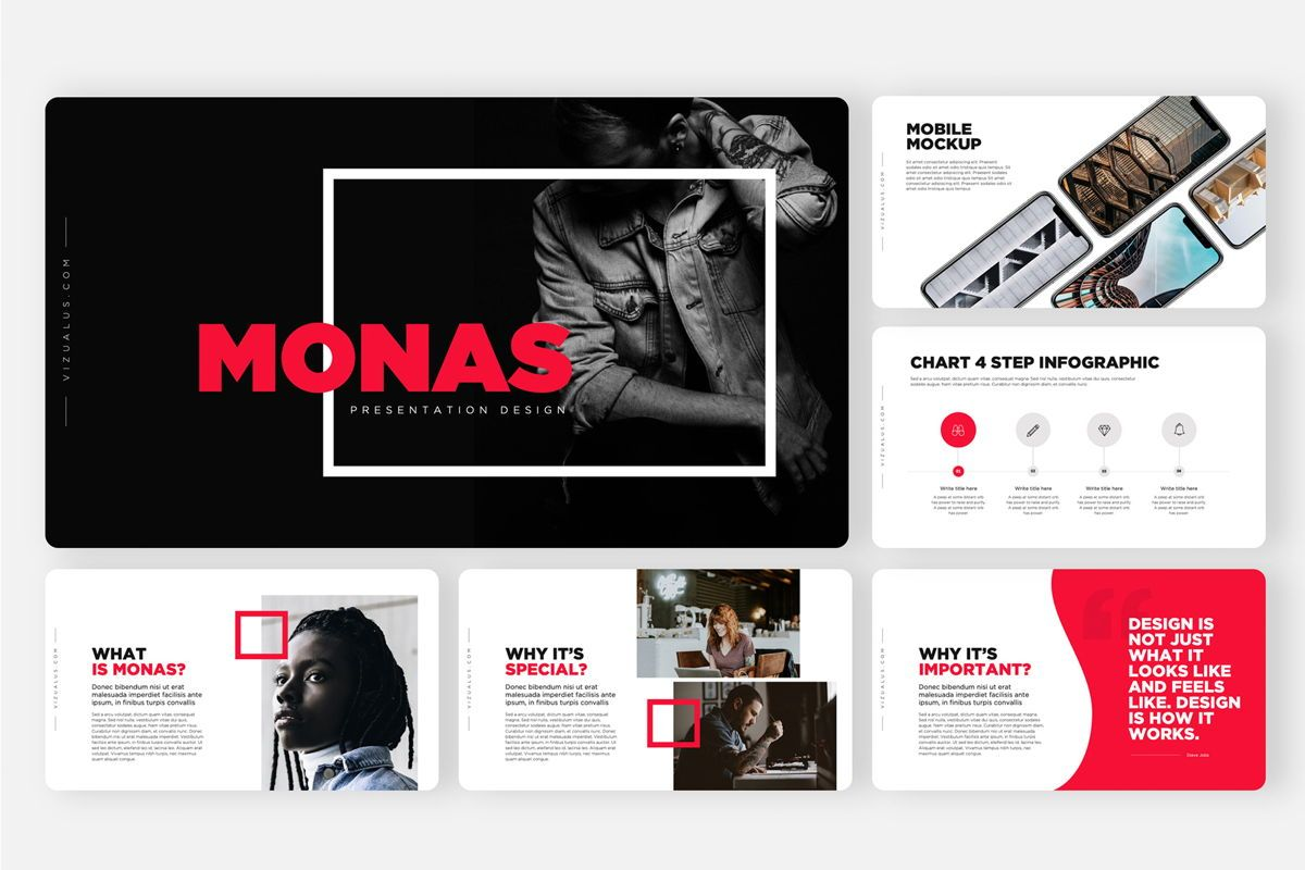 Monas PowerPoint Template Sleek Bold Presentation Design, Slide 2, 04468, Icons — PoweredTemplate.com