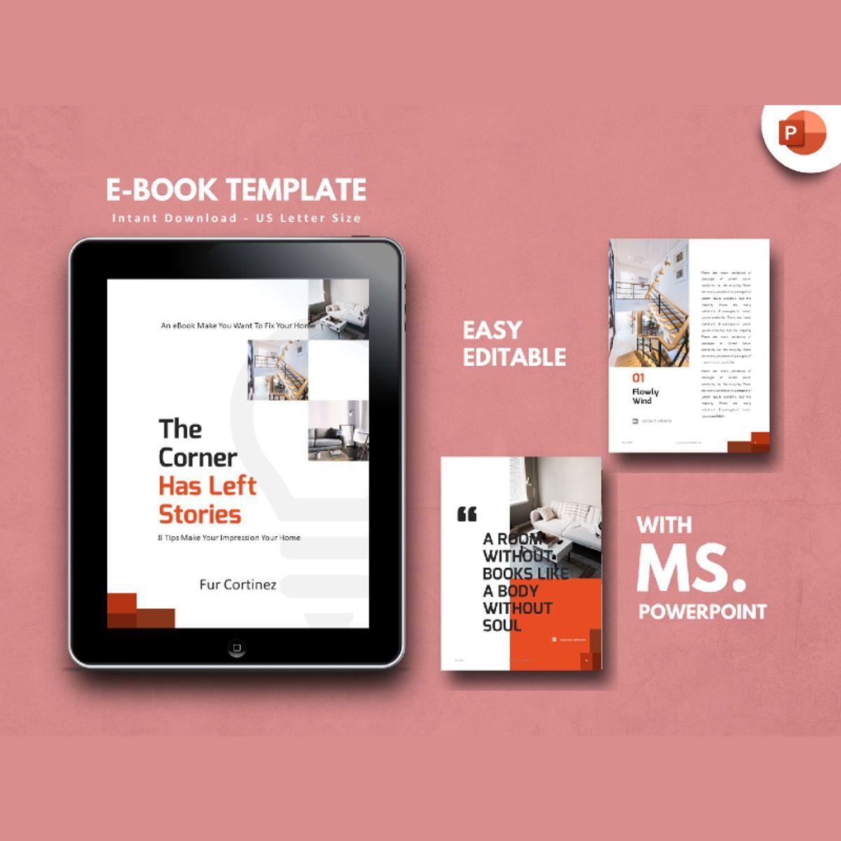 Interior eBook PowerPoint Presentation Template, 04495, Presentation Templates — PoweredTemplate.com
