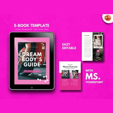 Presentation Templates: Fitness Girl eBook PowerPoint Presentation Template #04497