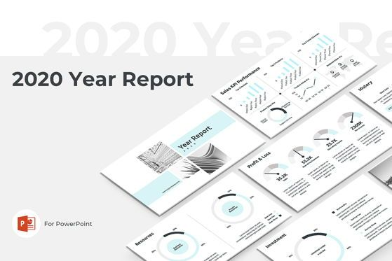 Infographics: 2020 Year Report PowerPoint PowerPoint Template Template #04521