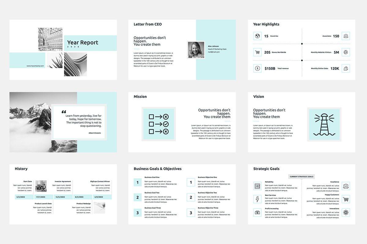 2020 Year Report PowerPoint Presentation Template, Slide 2, 04521, Infographics — PoweredTemplate.com