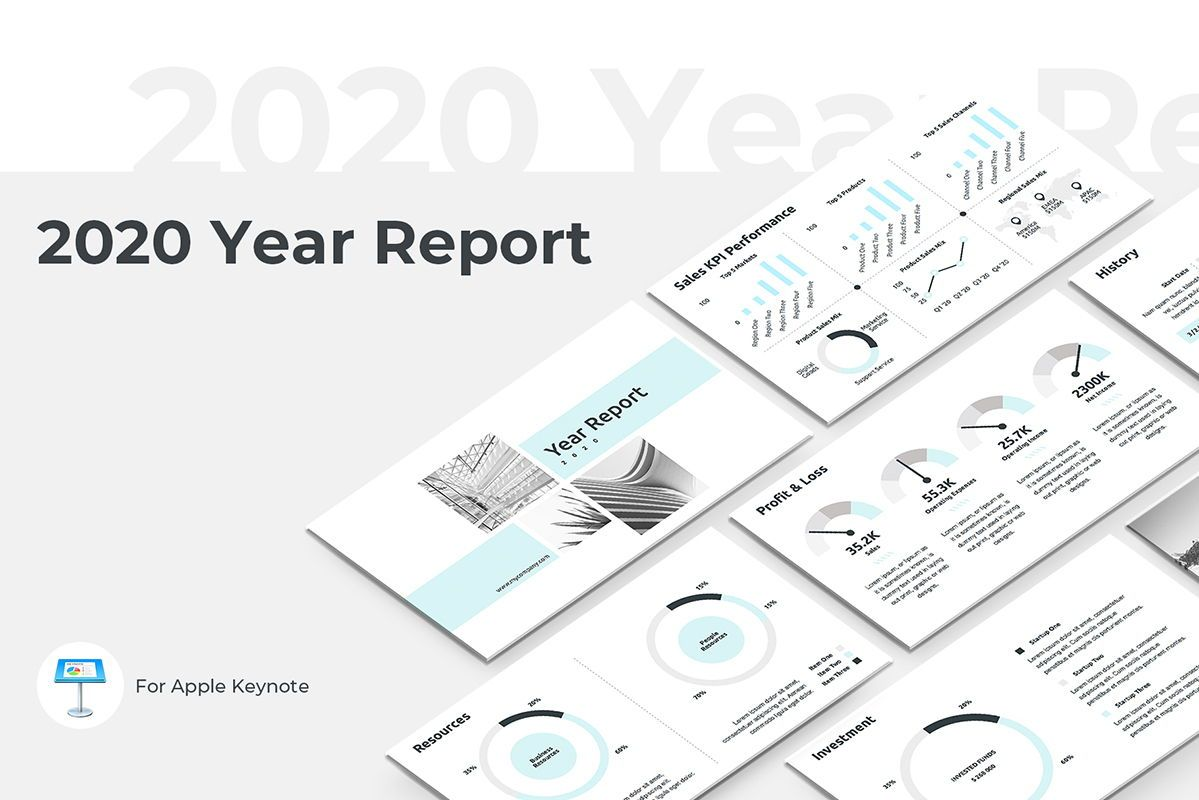 2020 Year Report Keynote Presentation Template, 04522, Presentation Templates — PoweredTemplate.com